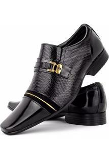 Sapato Social Venetto Verniz Preto E Ouro