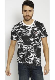 Camiseta Abstrata Com Tag - Preta & Brancalevis