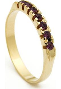 Meia Aliança Horus Import Banhada Ouro Amarelo Pedras Ametista Violeta