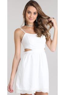 Vestido Com Recorte Em Laise Off White
