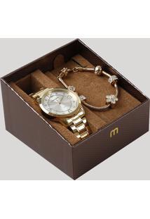 Kit De Relógio Analógico Mondaine Feminino + Pulseira - 83367Lpmvde1Ka Dourado