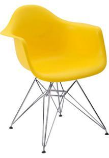 Cadeira Eiffel Com Braço Amarela E Base Cromada