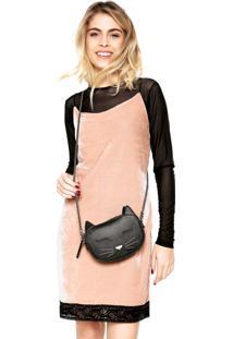 Vestido Slip Dress Fiveblu Veludo Rosa