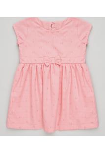 Vestido Infantil Com Laço E Estrela Vazada Manga Curta Decote Redondo Rosa
