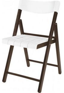 Cadeira Potenza Dobravel Tabaco Com Plastico Branco - 20642 - Sun House