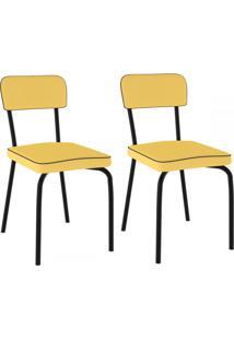 Cadeiras Kit 2 Cadeiras Vinil Amarelo/Pintado - Pozza