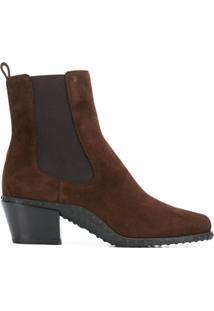 Tod'S Ankle Boot Com Textura No Solado - Marrom