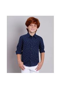 Camisa Infantil Estampada Mini Print De Letras Manga Longa Azul Marinho