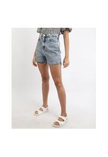 Short Jeans Feminino Mindset Cintura Alta Marmorizado Com Fenda E Barra A Fio Azul Médio