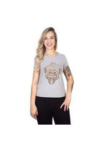 Camiseta 4 Ás Mesclada Manga Curta Macaco Dourado