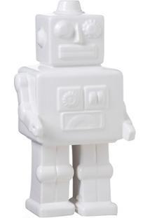 Escultura Decorativa Em Cerâmica Robot 26X13Cm Branca