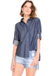 Camisa Jeans Feminina Bolso