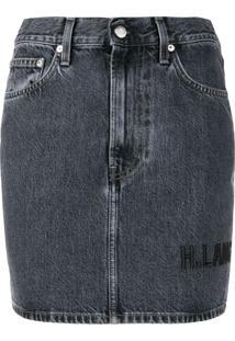 Helmut Lang Minissaia Jeans Com Bordado - Azul