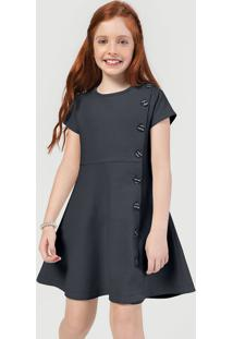 Vestido Infantil Menina Em Moletom Canelado Hering Kids