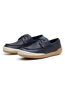 Sapato Em Couro Hayabusa Z 20 Marinho Solado Âmbar