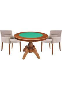 Mesa De Jogos Carteado Redonda Montreal Tampo Reversível Amêndoa Com 2 Cadeiras Vicenza Nude - Gran Belo