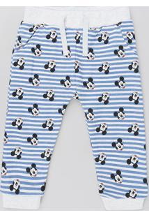 Calça Infantil Mickey Listrada Em Moletom Com Bolsos Cinza Mescla Claro