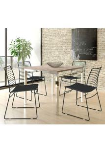 Conjunto Mesa 1525 Nogueira Cromada Com 4 Cadeiras 1712 Preta Carraro
