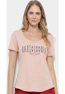 Camiseta T-Shirt Colcci Estampa Eco Soul Feminina - Feminino-Rosa Claro