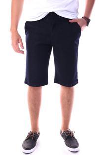 Bermuda Jeans Chino Regular Com Elastano Marinho Traymon 627