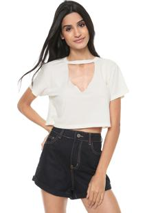 Camiseta Cropped Redley Choker Lisa Off-White