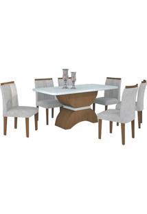 Mesa De Jantar Atenas 180Cm Quina Copo Com 6 Cadeiras Imbuia Mel - Branco / Pena Palha