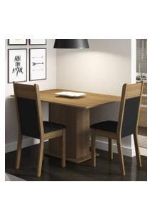 Conjunto Sala De Jantar Madesa Gabi Mesa Tampo De Madeira Com 2 Cadeiras Rustic/Preto/Sintético Preto