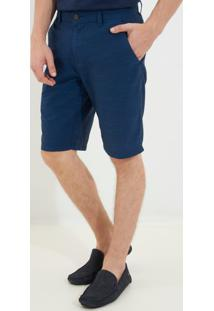 Bermuda Dudalina Bolso Faca Sarja Maquinetada Masculina (Azul Medio, 44)