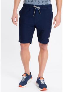 Bermuda Jeans Chino Elástico - Azul Marinho - 36