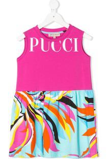 Emilio Pucci Junior Vestido Midi Com Estampa De Folhas - Rosa