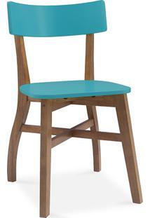 Cadeira Para Cozinha Bella - Amêndoa E Azul Turquesa 44X51X82 Cm