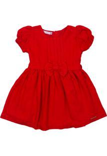 Vestido Clássico De Linho Ser Garota Vermelho