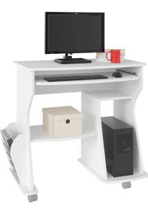 Escrivaninha/Mesa Para Computador 160 Branco E Porta-Revista Lateral - Artely
