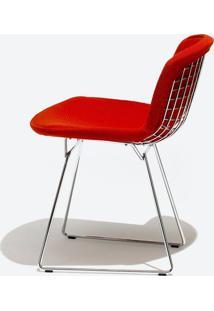 Cadeira Bertoia Revestida - Cromada Tecido Sintético Amarelo Dt 0102299194