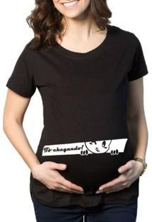 Camiseta Criativa Urbana Grávida Gestantes Frases Engraçadas Espiando - Feminino-Preto