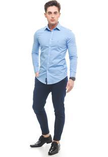 Camisa Social Lvk Super Slim Azul Bebê