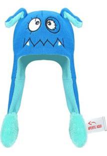 Touca Gorro Infantil Que Mexe Orelha - Monstro - Masculino-Azul