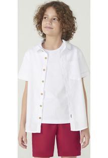 Camisa Manga Curta Menino Em Tecido De Algodão Com Tecido Texturizado