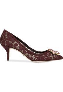 Dolce & Gabbana Sapato Vermelho Com Aplicação De Cristais E Salto 60Mm