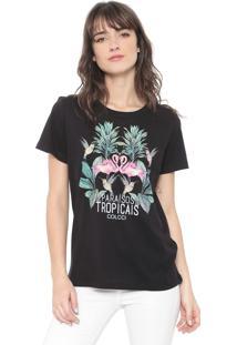 Camiseta Colcci Paraísos Tropicais Preta