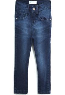 Calça Jeans Polo Wear Menino Lisa Azul-Marinho
