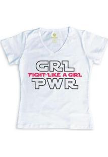 Camiseta Geek Feminina Gola V Series E Cinema Cool Tees Girl Power - Feminino-Branco