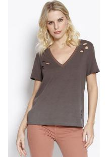 Camiseta Com Destroyed- Marrom Escuro & Preta- Sommesommer