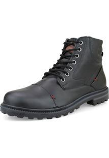 Bota Casual Urbana Way Boots Com Cadarço Ajustável E Fecho Lateral Preta