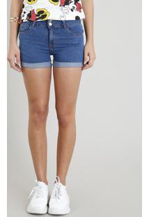 302b04f0125f Short Jeans Feminino Reto Com Bolsos E Barra Dobrada Azul Médio