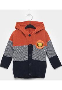 Casaco Infantil Kyly Tricot Com Capuz - Masculino-Laranja