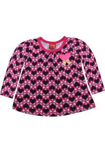 Camiseta Kyly Menina Coração Rosa