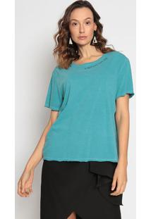 Camiseta Com Bordado- Azul & Azul Marinho- Canalcanal