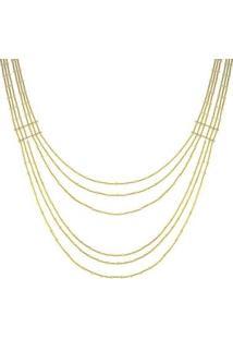 Colar Barbara Strauss Sorrento Em Pérola Lalique Revestido Em Ouro 18K - Feminino-Dourado