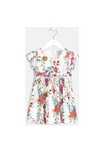 Vestido Infantil Estampa Floral - Tam 1 A 5 Anos | Póim (1 A 5 Anos) | Branco | 04